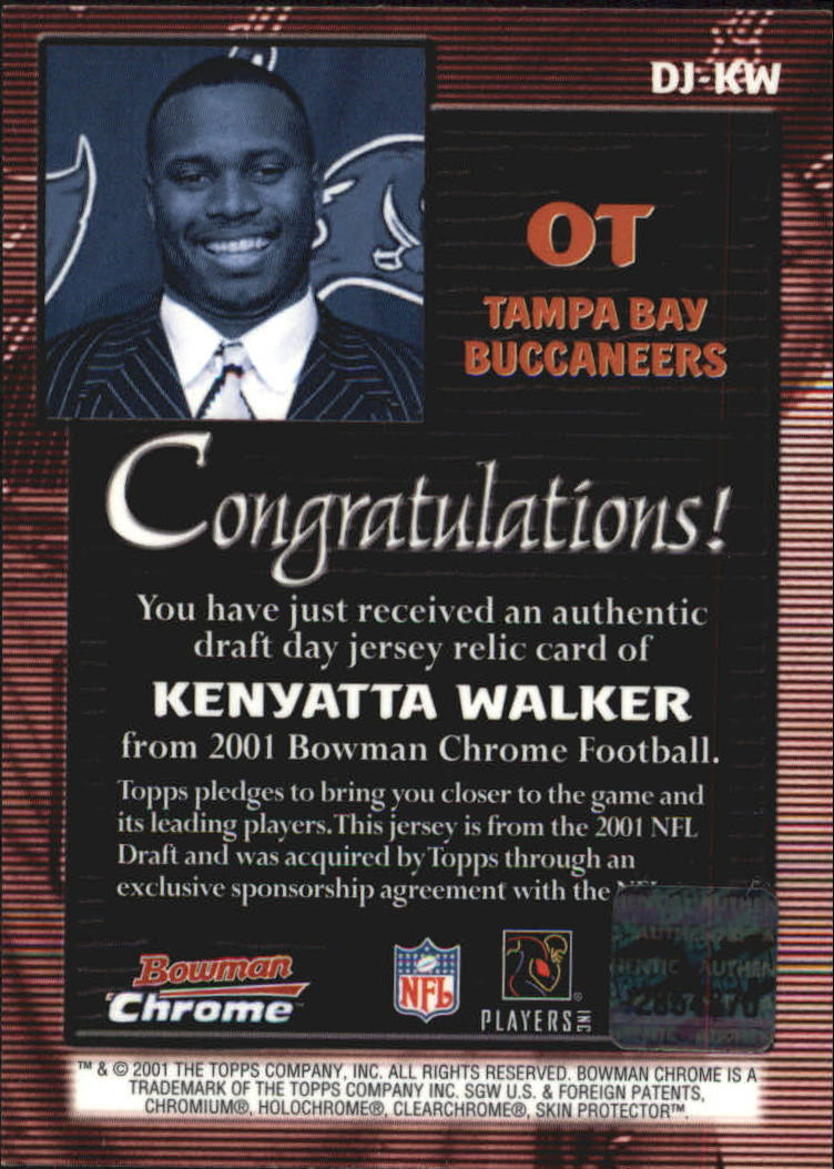 2001 Bowman Chrome Draft Day Relics #DJKW Kenyatta Walker JSY