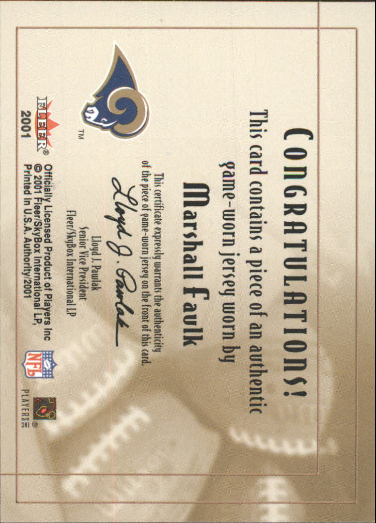 2001 Fleer Authority Goal Line Gear #9 Marshall Faulk FB/200