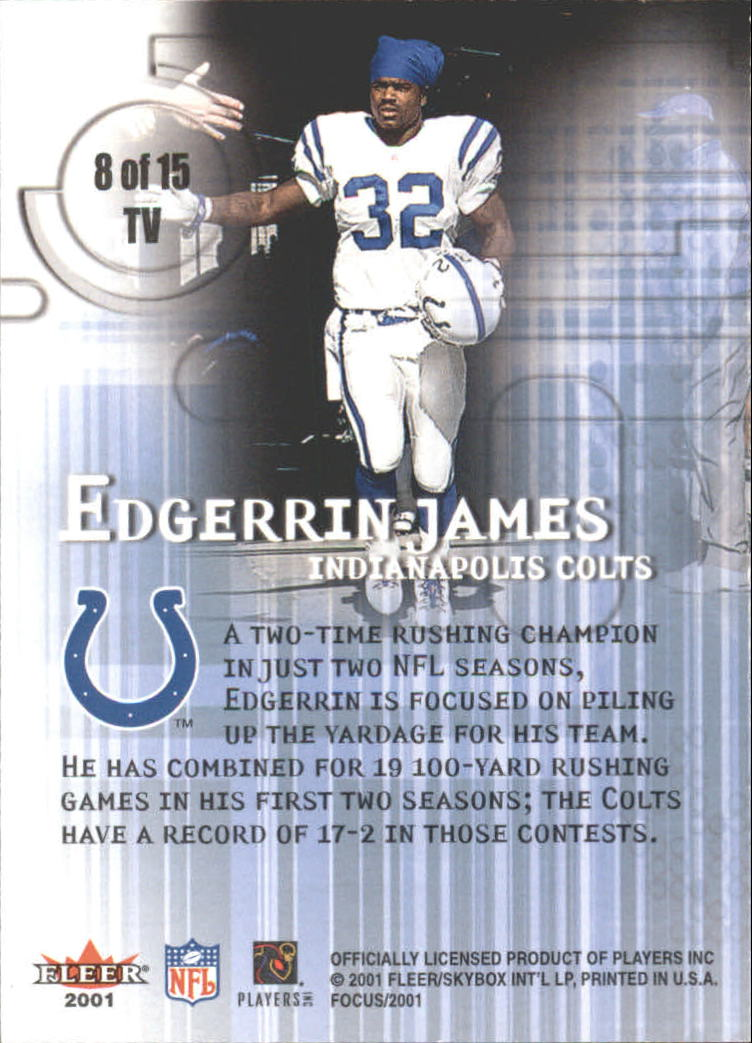 2001 Fleer Focus Tunnel Vision #8 Edgerrin James back image
