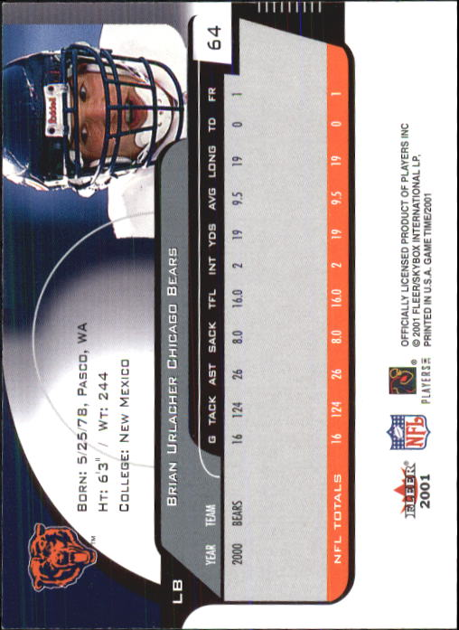 2001 Fleer Game Time #64 Brian Urlacher back image