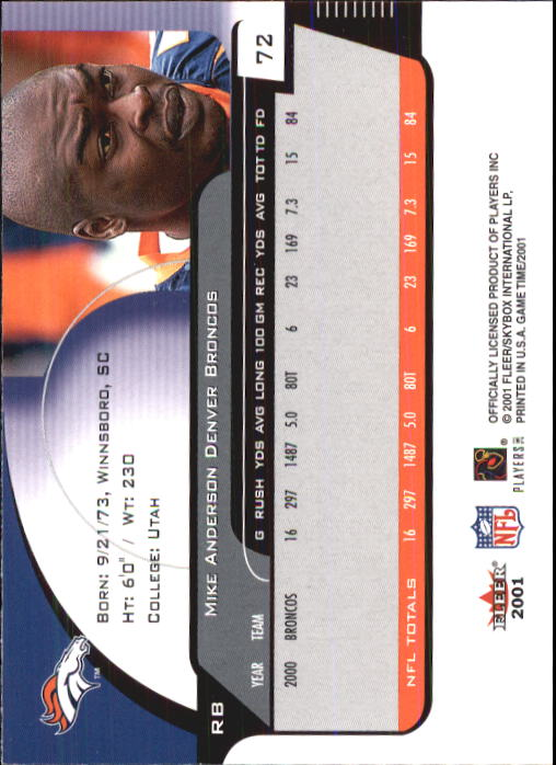2001 Fleer Game Time #72 Mike Anderson back image