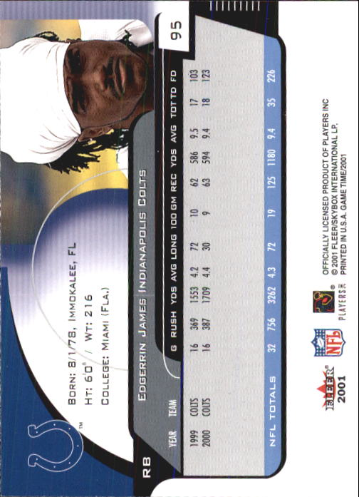 2001 Fleer Game Time #95 Edgerrin James back image
