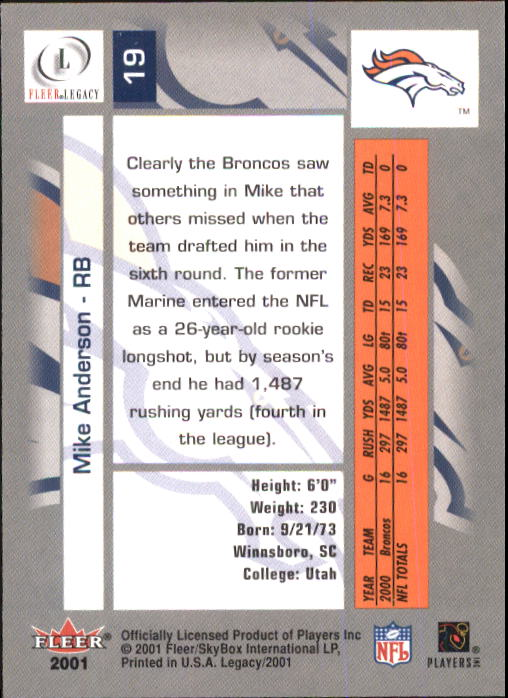 2001 Fleer Legacy #19 Mike Anderson back image