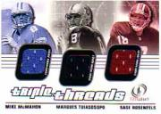 2001 Fleer Legacy Triple Threads #MTR Mike McMahon/Marques Tuiasosopo/Sage Rosenfels