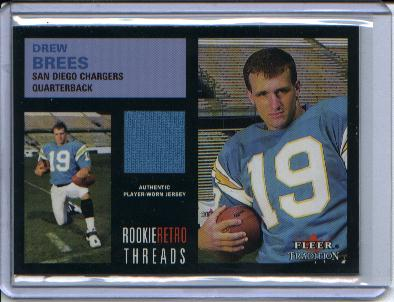 2001 Fleer Tradition Rookie Retro Threads #6 Drew Brees JSY