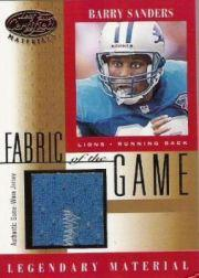 2001 Leaf Certified Materials Fabric of the Game #2BA Barry Sanders