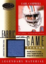 2001 Leaf Certified Materials Fabric of the Game #11SN Earl Campbell/36