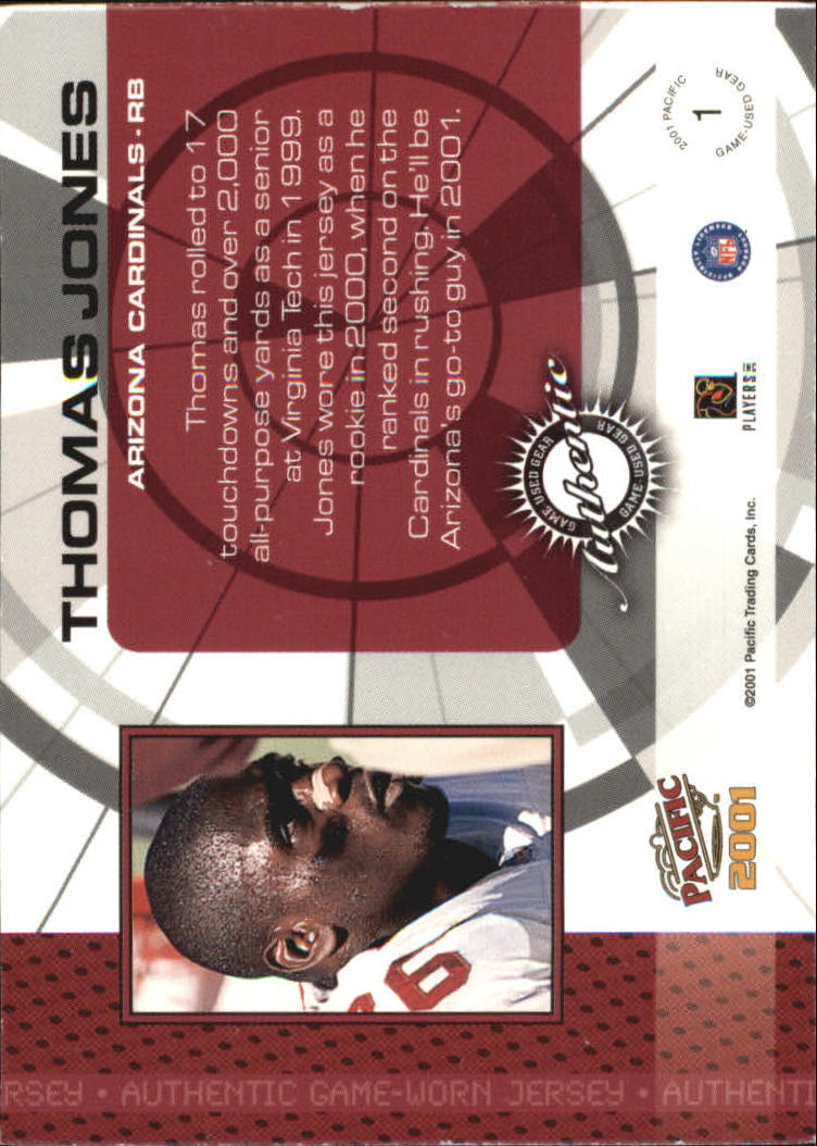 2001 Pacific Game Gear #1 Thomas Jones J