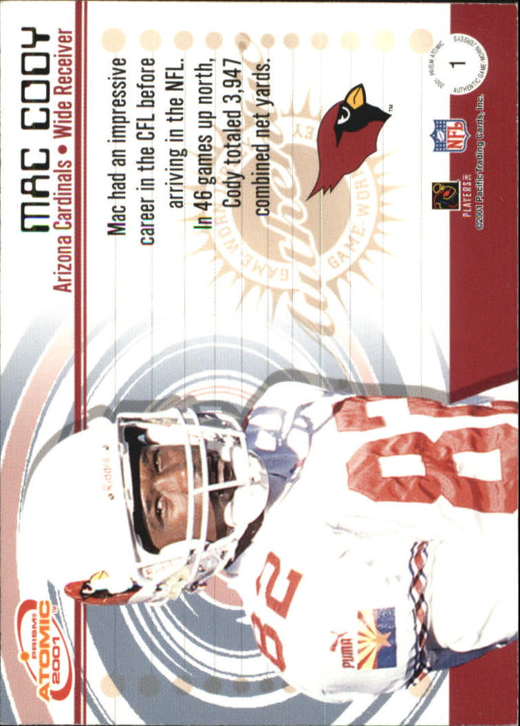 2001 Pacific Prism Atomic Jerseys #1 Mac Cody back image