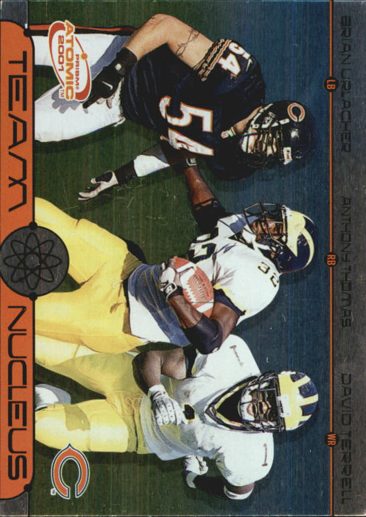 2001 Pacific Prism Atomic Team Nucleus #1 Brian Urlacher/Anthony Thomas/David Terrell