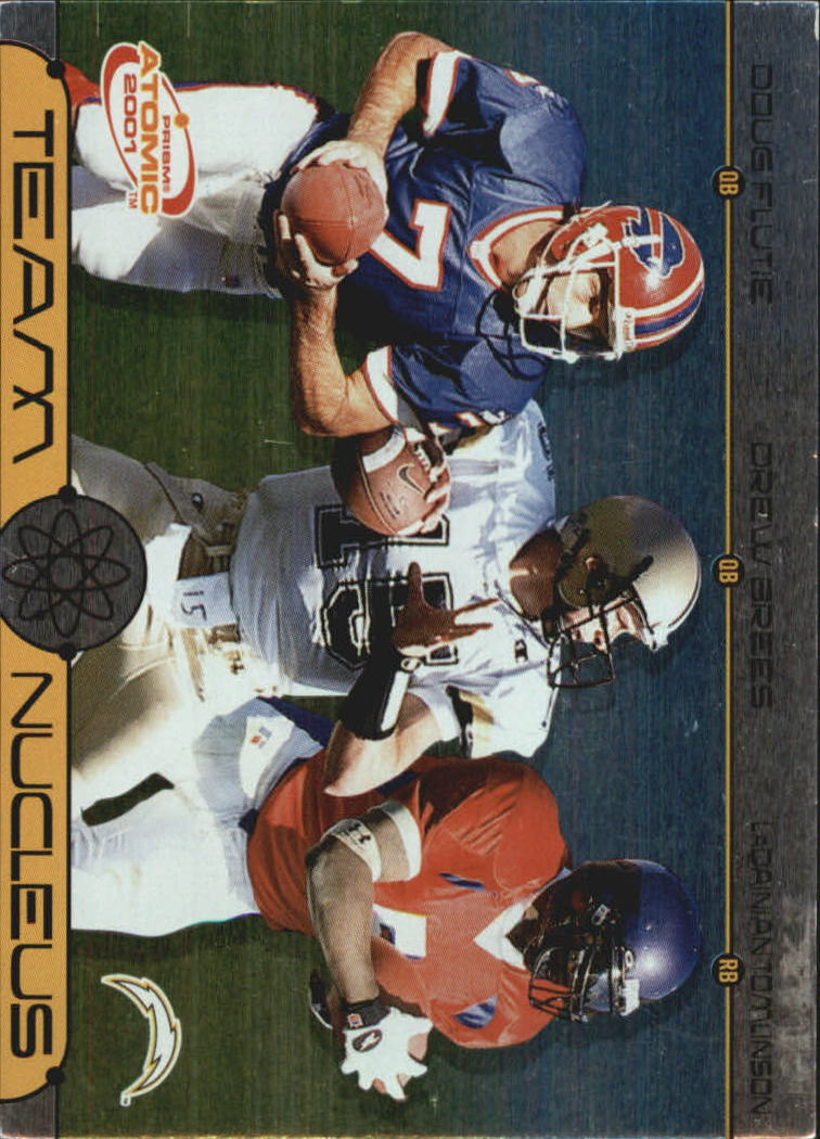2001 Pacific Prism Atomic Team Nucleus #9 Doug Flutie/Drew Brees/LaDainian Tomlinson
