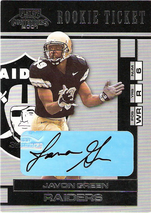 2001 Playoff Contenders #137 Javon Green AU RC