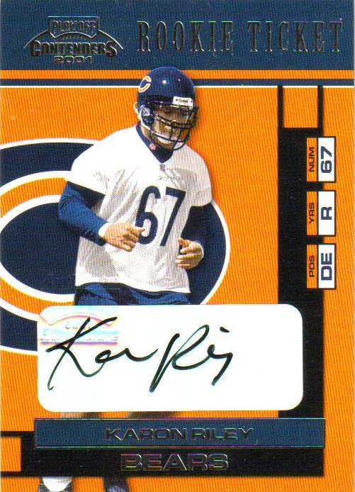 2001 Playoff Contenders #142 Karon Riley AU RC