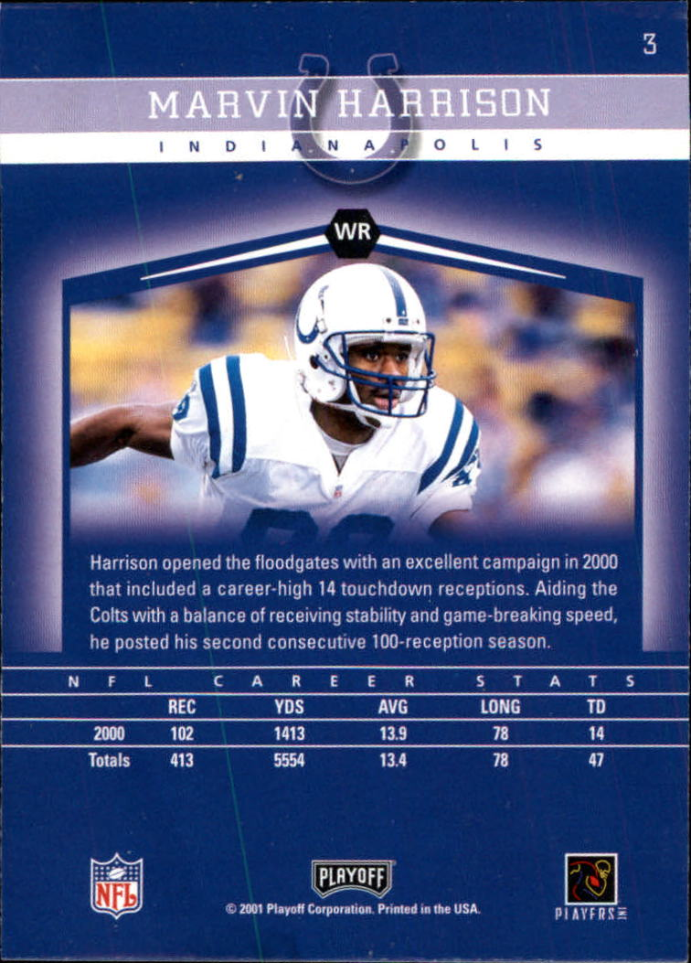 2001 Playoff Honors #3 Marvin Harrison back image