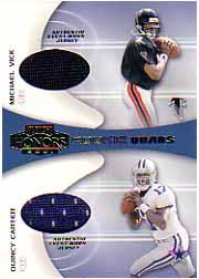 2001 Playoff Honors Rookie Quad Jerseys #RQ1 Michael Vick/Quincy Carter/Chris Weinke/Mike McMahon