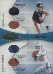 2001 Playoff Honors Rookie Quad Jerseys and Footballs #RQ1 Michael Vick/Quincy Carter/Chris Weinke/Mike McMahon