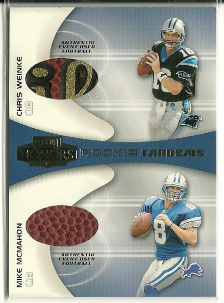 2001 Playoff Honors Rookie Tandem Footballs #RT2 Chris Weinke/Mike McMahon