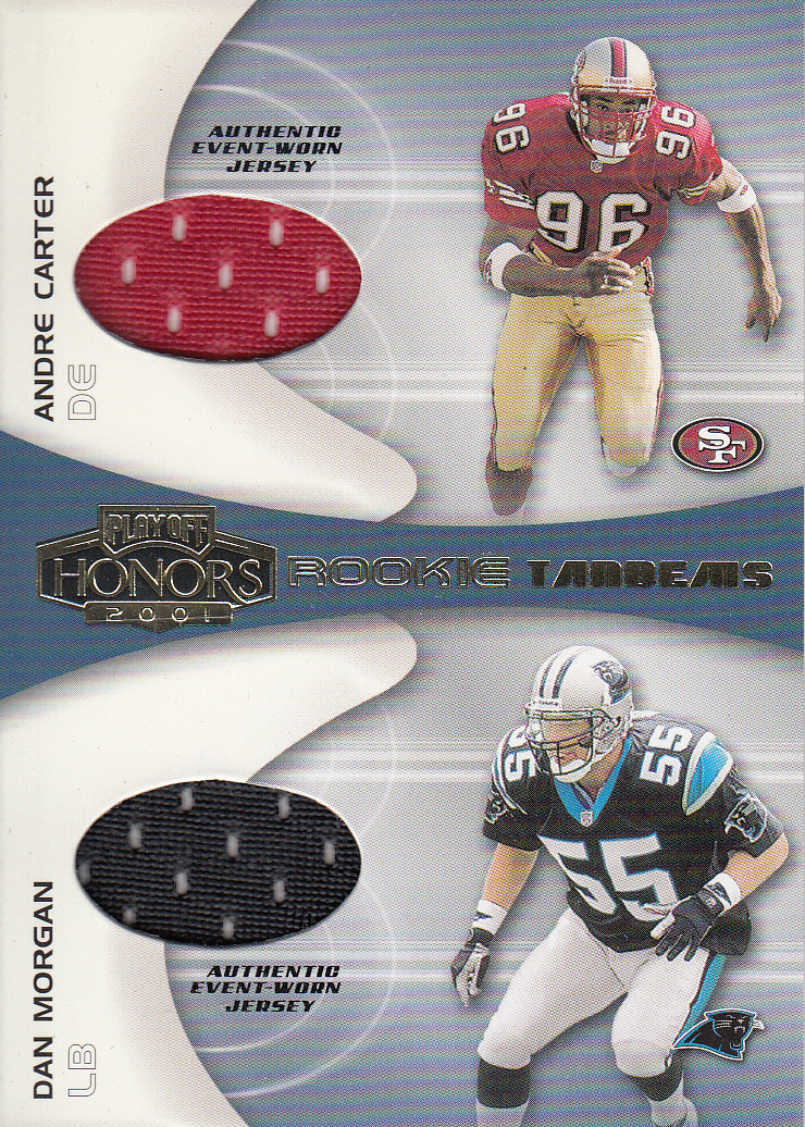 2001 Playoff Honors Rookie Tandem Jerseys #RT17 Andre Carter/Dan Morgan