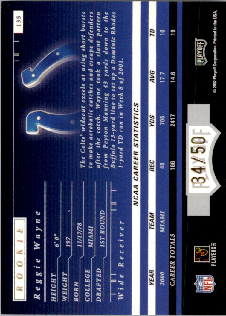 2001 Playoff Preferred National Treasures Gold #135 Reggie Wayne back image