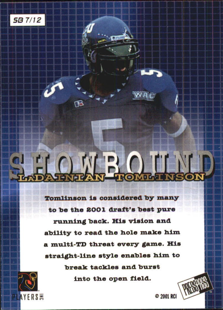 2001 Press Pass Showbound #SB7 LaDainian Tomlinson back image
