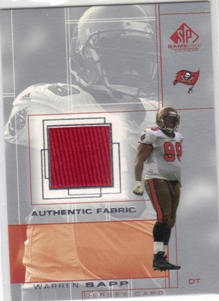 2001 SP Game Used Edition Authentic Fabric #WS Warren Sapp