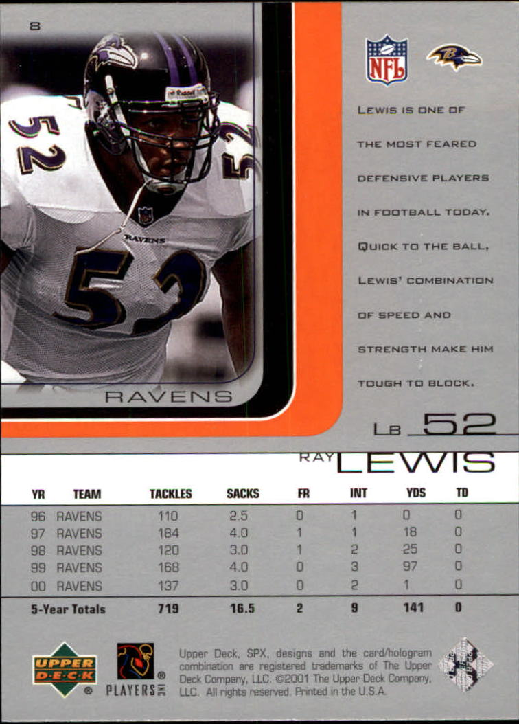 2001 SPx #8 Ray Lewis back image