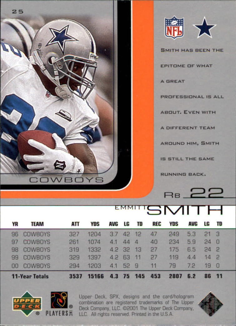 2001 SPx #25 Emmitt Smith back image