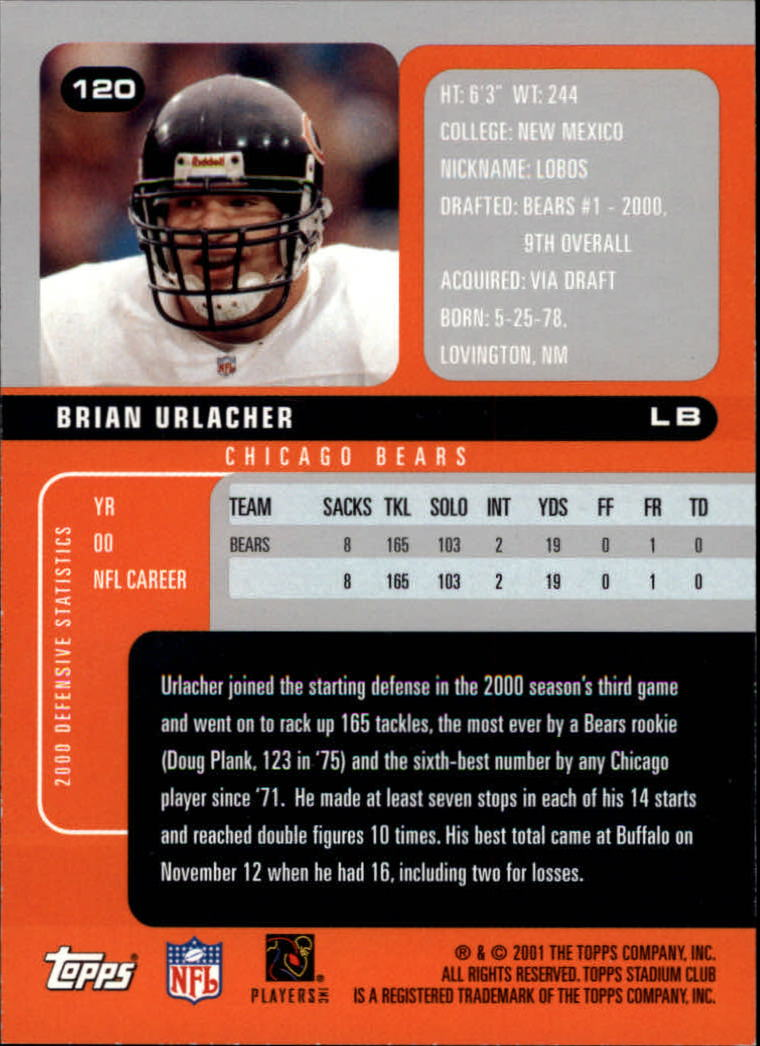 2001 Stadium Club #120 Brian Urlacher back image