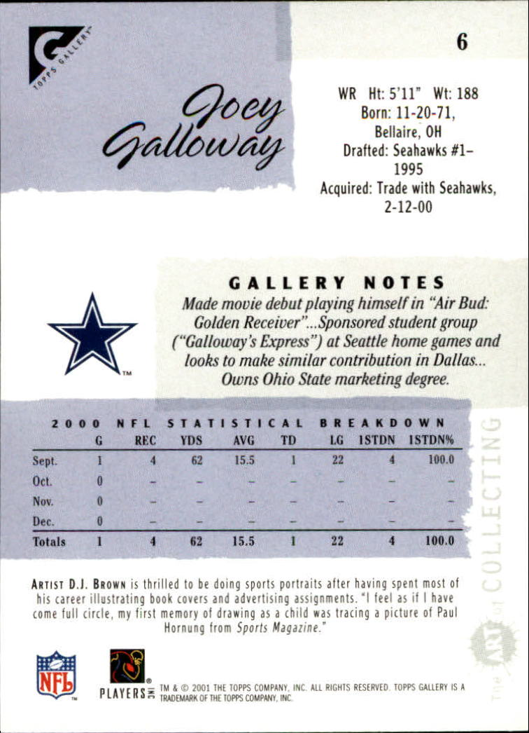 2001 Topps Gallery #6 Joey Galloway back image