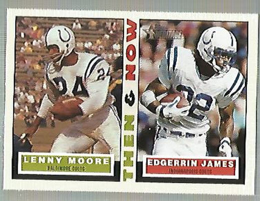 2001 Topps Heritage Then and Now #TNMJ Lenny Moore/Edgerrin James
