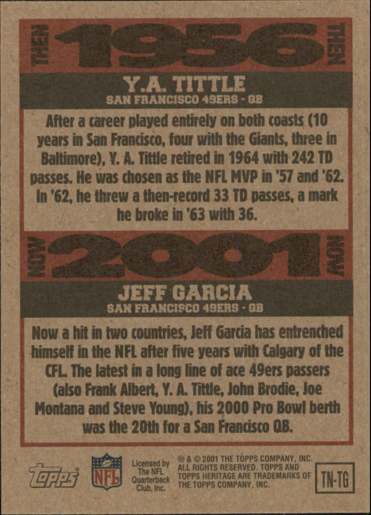 2001 Topps Heritage Then and Now #TNTG Y.A. Tittle/Jeff Garcia back image