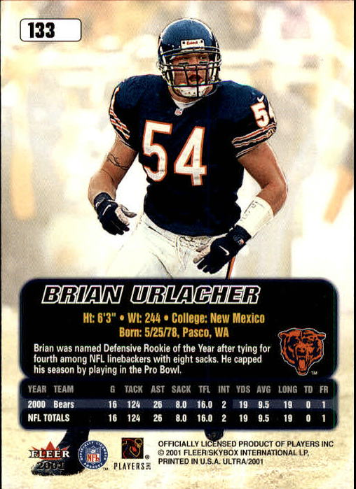 2001 Ultra #133 Brian Urlacher back image