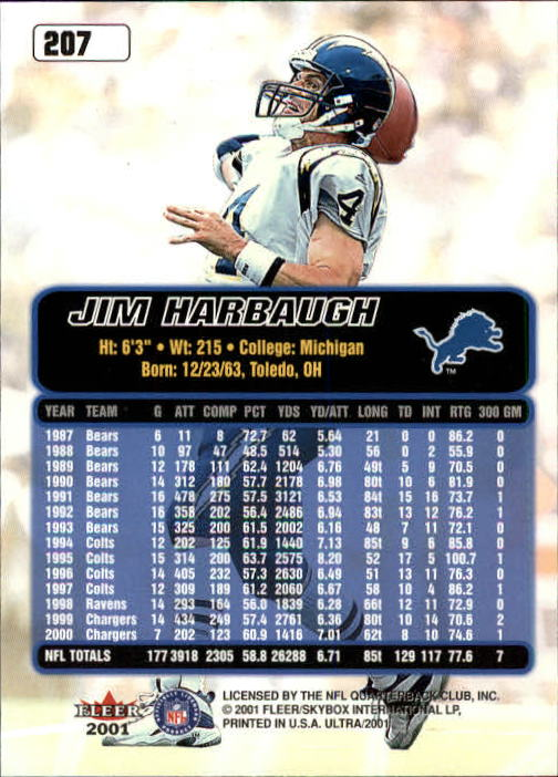 2001 Ultra #207 Jim Harbaugh back image