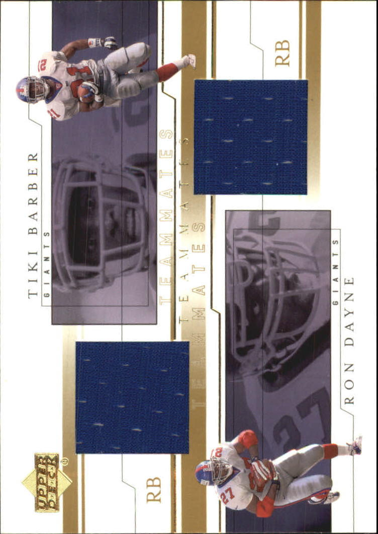 2001 Upper Deck Teammates Jerseys #DBT Ron Dayne/Tiki Barber