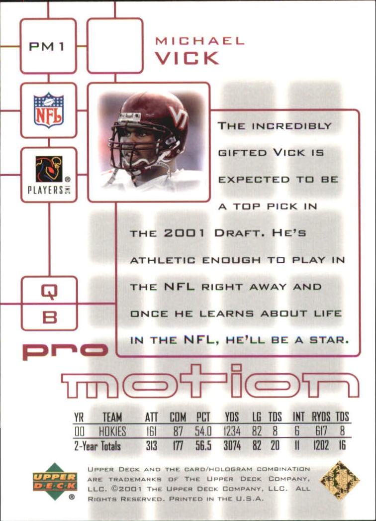 2001 Upper Deck Pros and Prospects ProMotion #PM1 Michael Vick back image