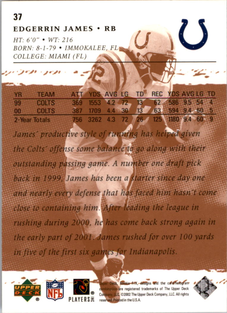 2001 Upper Deck Rookie F/X #37 Edgerrin James back image