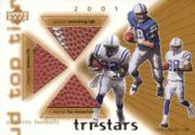 2001 Upper Deck Top Tier Tri-Stars Footballs #3SIC Edgerrin James/Peyton Manning/Marvin Harrison