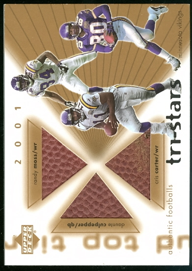 2001 Upper Deck Top Tier Tri-Stars Footballs #3SMV Daunte Culpepper/Randy Moss/Cris Carter