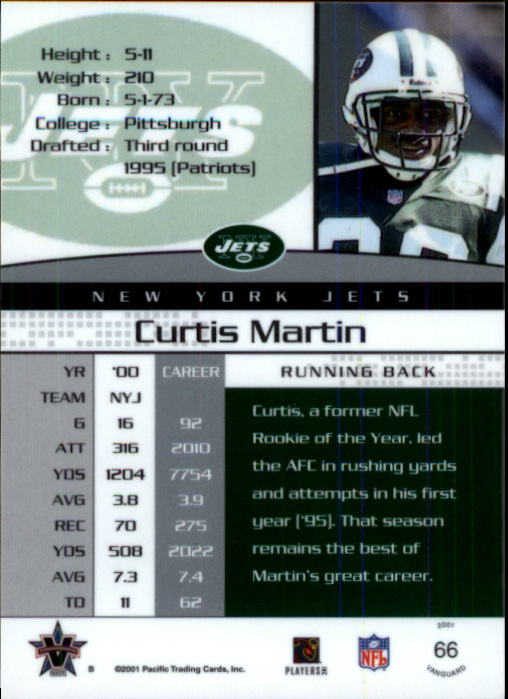 2001 Vanguard #66 Curtis Martin back image