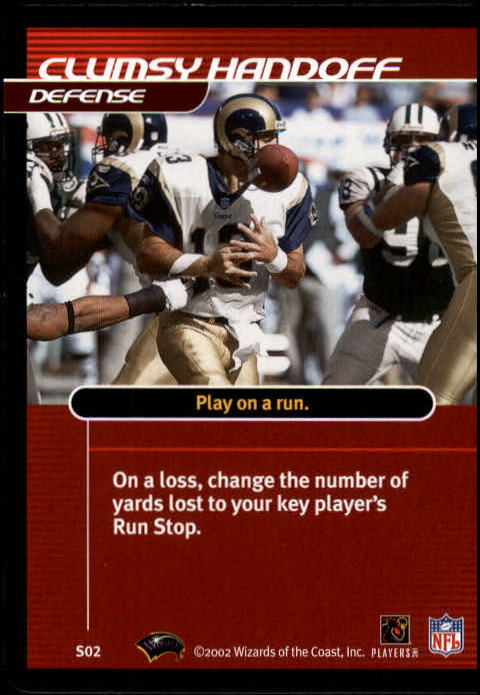 2002 NFL Showdown Strategy #S2 Kurt Warner/Clumsy Handoff back image