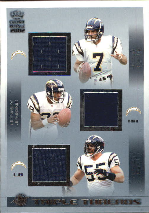 2002 Crown Royale Triple Threads Jerseys #18 Doug Flutie/Ronney Jenkins/Junior Seau/1043