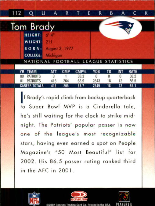 2002 Donruss #112 Tom Brady back image