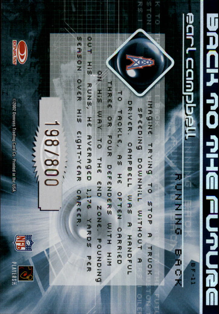 2002 Donruss Elite Back to the Future #BF11 Earl Campbell back image