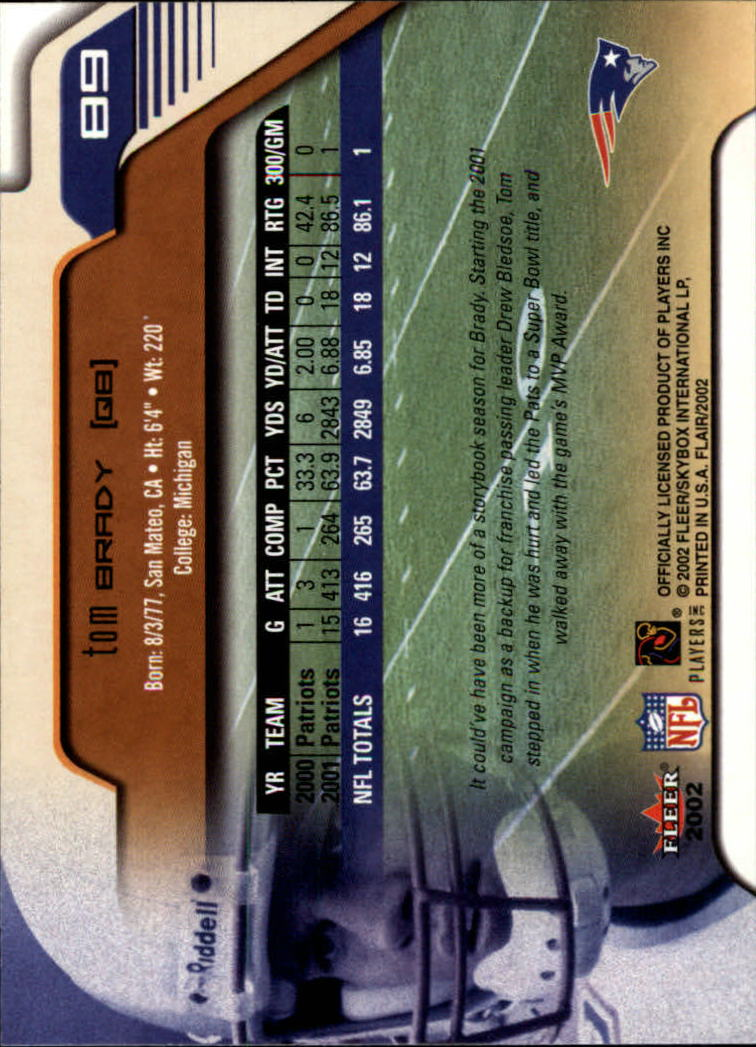 2002 Flair #89 Tom Brady back image