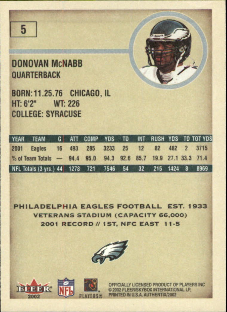 2002 Fleer Authentix #5 Donovan McNabb back image