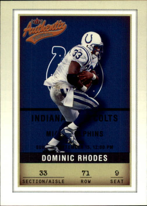 2002 Fleer Authentix #71 Dominic Rhodes
