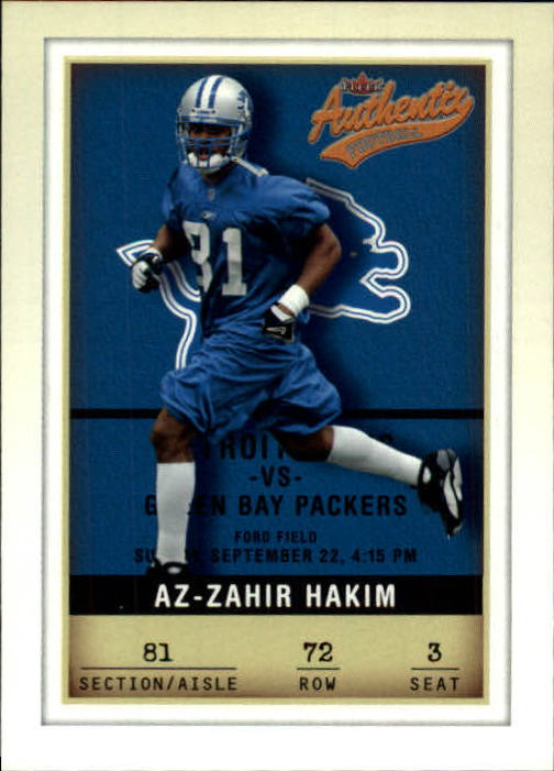 2002 Fleer Authentix #72 Az-Zahir Hakim