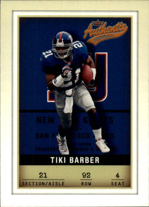 2002 Fleer Authentix #92 Tiki Barber