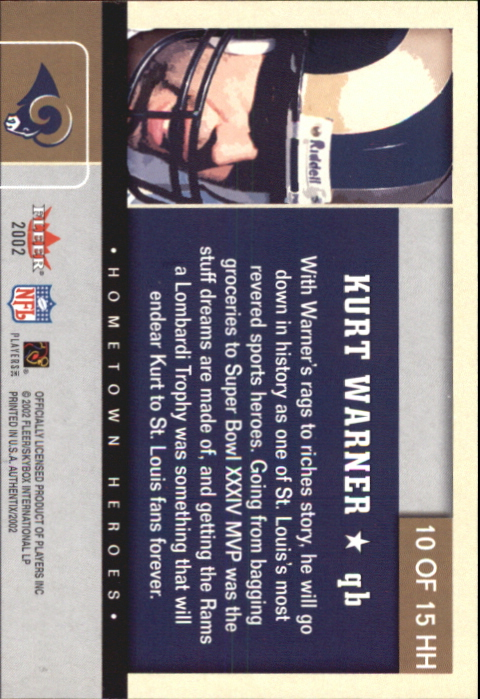 2002 Fleer Authentix Hometown Heroes #10 Kurt Warner back image