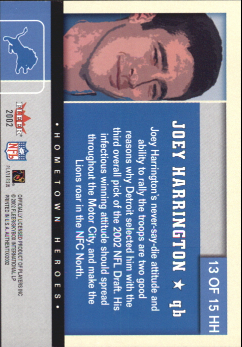 2002 Fleer Authentix Hometown Heroes #13 Joey Harrington back image